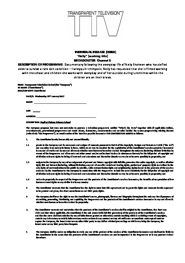 TV Permission Form