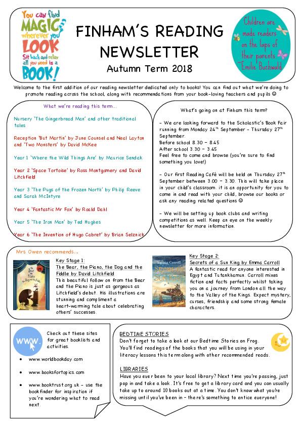 Reading Newsletter - Autumn 2018